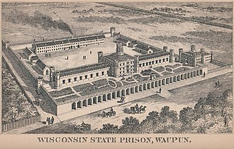 Waupun Correctional Institution - An illustration of the Waupun facility, from the 1885 edition of the Wisconsin Blue Book.