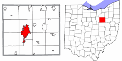 Posizione di Wooster nella contea di Wayne e nello stato dell'Ohio