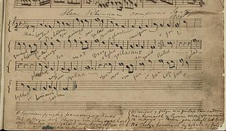 Hen Wlad Fy Nhadau - The earliest composition of Hen Wlad Fy Nhadau in the hand of the Author, James James, 1856
