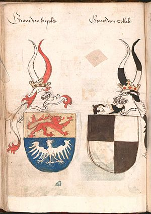 Lordship of Diepholz - Inverted coat of arms of the Counts of Diepholz (cited as Graue von Diepoldt) (on the left) in the Wernigerode Armorial (ca. 1475-1500).
