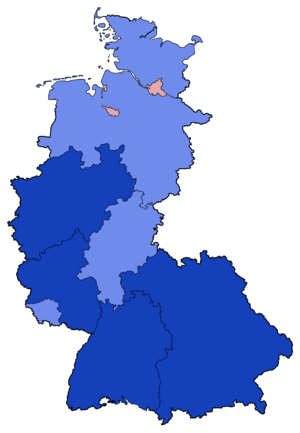 West German federal election, 1957 - Image: West German Federal Election Party list vote results by state 1957