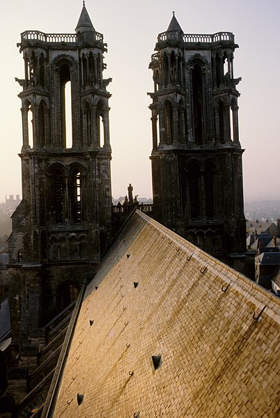 West towers and roof of Laon Cathedral from central tower