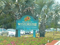 Sign marking entrance to Westchester on Bird Road, just west of the Palmetto Expressway