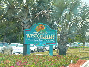 Westchester, Florida - Sign marking entrance to Westchester on Bird Road, just west of the Palmetto Expressway