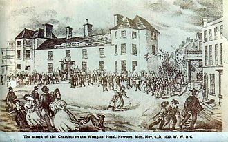 Westgate Hotel - The attack of the Chartists on the Westgate Hotel, 4 November 1839