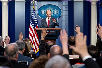 White House press corps - Reports ask questions at a White House Press Briefing in 2019