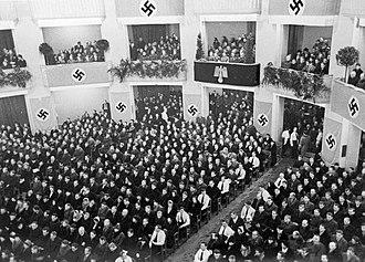 Volksliste - Volksdeutsche meeting in occupied Warsaw in 1940