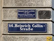 Straßentafeln der Heinrich Collin-Straße in Penzing (Quelle: Wikimedia)