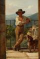 Wilhelm Marstrand, Parti fra Italien med en ung mand stående på en balkon, 1839.png