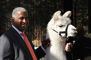 William A. Bell - Bell (left) with a llama and a hand, 2010