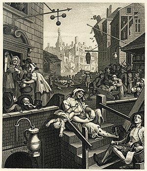 Augustan literature - William Hogarth's Gin Lane is not entirely caricature, as in 1750, over a fourth of all houses in St Giles were gin shops, all unlicensed.