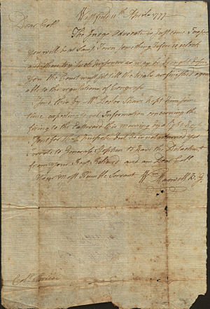 William Maxwell (Continental Army general) - Letter from Brigadier General William Maxwell, 1777