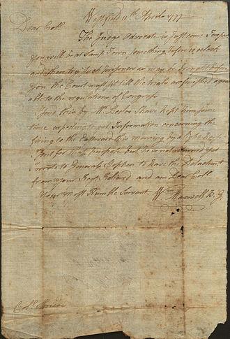 William Maxwell (Continental Army general) - Letter from Brigadier General William Maxwell, 1777