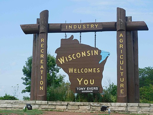 Wisconsin State Welcome Sign on I-90 (2020)