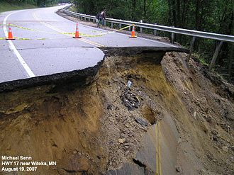 2007 Midwest flooding - Washed out road in Witoka, Minnesota