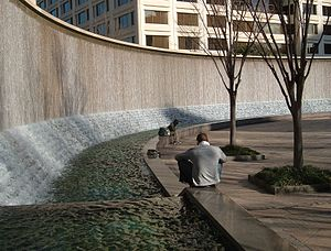 Woodruff Park - Curved fountain on the park's northern edge
