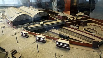 Birkenhead Woodside railway station - Model of the rear view of the station as it was in 1934 showing incoming lines.