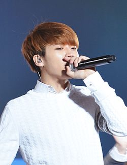 Woohyun at Dilemma Tour in Tokyo on May 2015 01.jpg