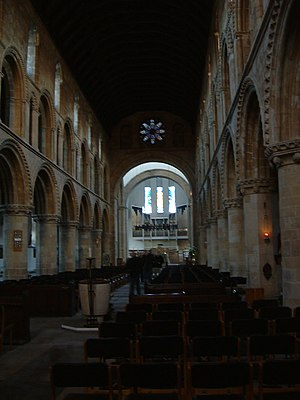 Worksop Priory - The nave of the priory, facing east