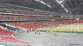 National Stadium, Singapore - Spectators at the World Club 10s Rugby on 22 June 2014 in the first sporting event held at the National Stadium.