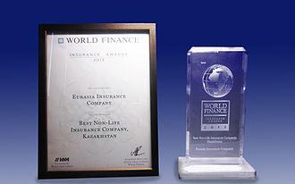 "World News Media - A World Finance award for ""Best Non-Life Insurance Company, Kazakhstan"", 2013."