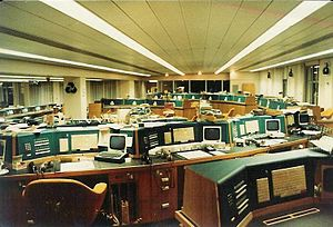 International Westminster Bank - International Westminster Bank's foreign currency deposit and loan trading floor at 52-53 Threadneedle Street, London in 1981.