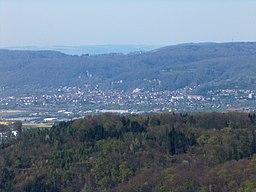 View over Wyhlen (Grenzach-Wyhlen) from lookout at the top of Schleifenberg, Liestal (Switzerland)