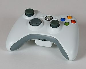 Xbox 360 controller (wireless, white).