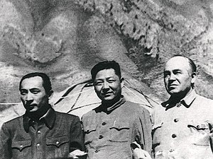 Xi Zhongxun - Xi Zhongxun (middle) with Xinjiang leaders Burhan Shahidi (right) and Saifuddin Azizi (left) in 1952.