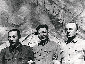 Xi Zhongxun - Xi Zhongxun (middle) with Xinjiang leaders Burhan Shahidi (right) and Saifuddin Azizi (left) in 1952.