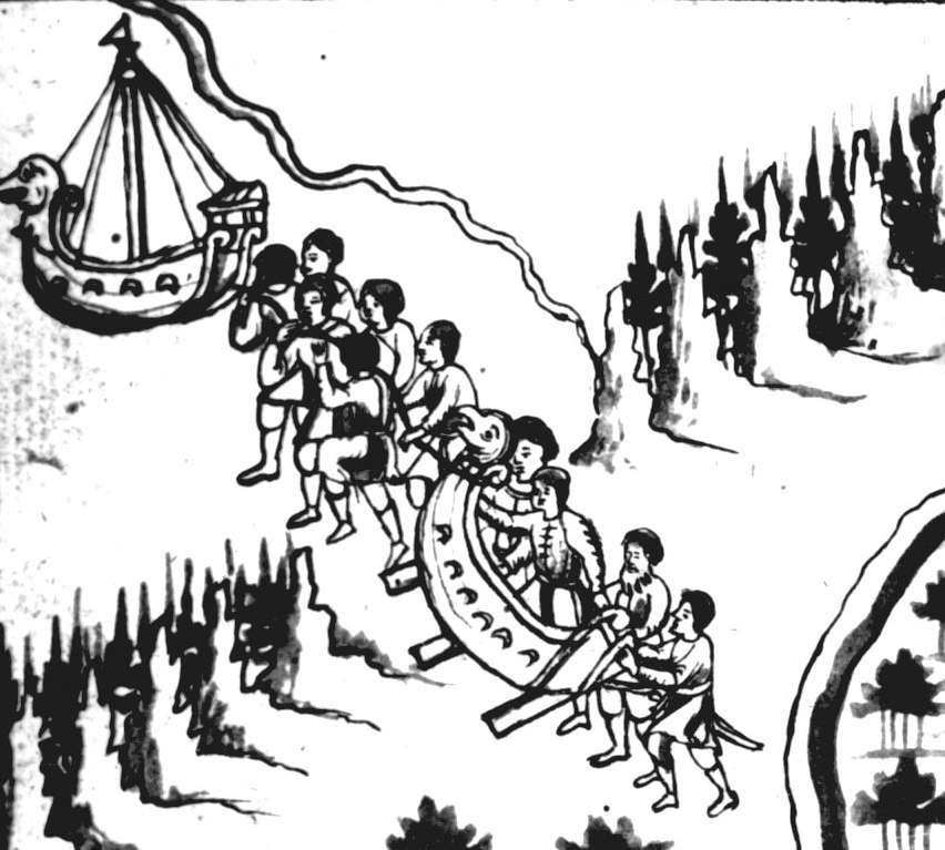 Yermak Timofeyevich and his band of adventurers crossing the Ural Mountains at Tagil, entering Asia from Europe