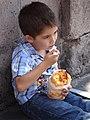 Young Boy Eating Gaspacho - Morelia - Michoacan - Mexico (19851877023).jpg