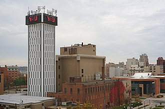 Youngstown State University - The YSU clock tower, a distinctive building which also functions as a cellphone tower.