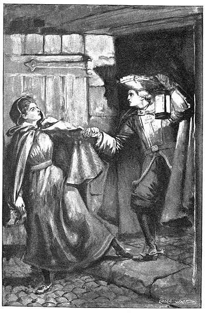 Man with lantern seizing woman in cloak