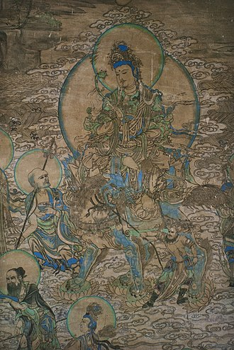 Manjushri - A painting of the Buddhist manjusri from the Yulin Caves of Gansu, China, from the Tangut-led Western Xia dynasty