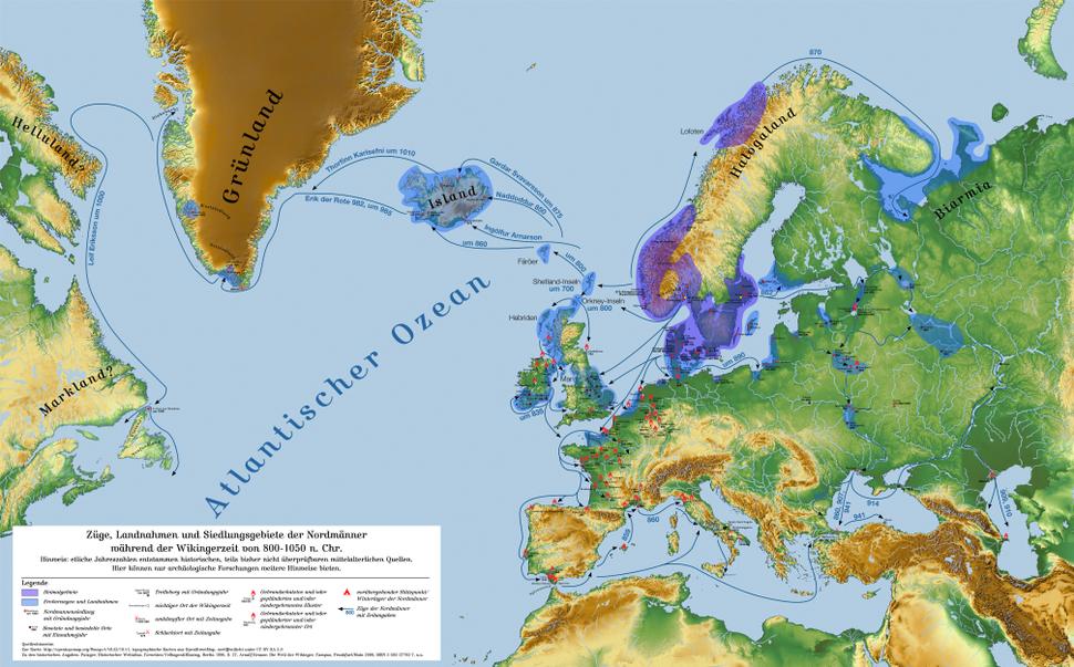 Züge, Landnahmen und Siedlungsgebiete der Nordmänner - 800-1050