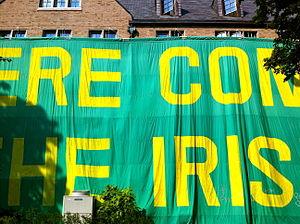 "Zahm Hall - The ""Here Come The Irish"" gameday sign"
