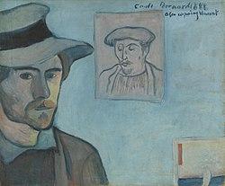 Émile Bernard: Self-Portrait with Portrait of Gauguin