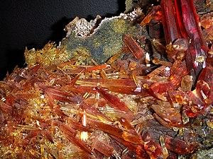 Zincite - Crystal blades of zincite