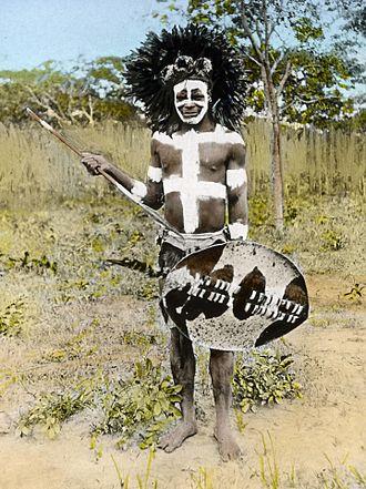 "Livingstonia, Malawi - ""Clay-daubed Ngoni Warrior, Livingstonia"" Malawi, c. 1895"