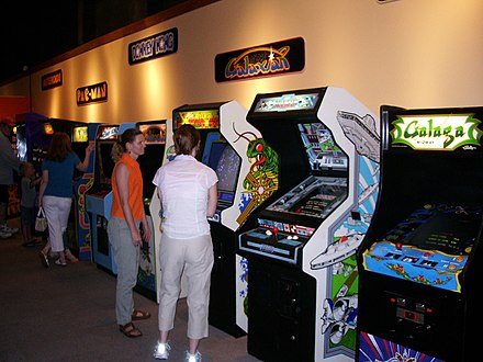 "Games such as Galaxian, Galaga and Donkey Kong were popular in arcades during the early 1980s. ""Game On"" at Pacific Science Center (5559659293).jpg"