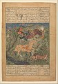 """Rustam Saved by his Horse Rakhsh from an Attacking Lion"", Folio from a Shahnama (Book of Kings) MET DP215775.jpg"