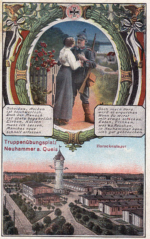 Świętoszów - Świętoszów (German: Neuhammer am Queis).Lithographic postcard sent June 22, 1918 from Glatz (Polish: Kłodsko). The postcard shows the military training ground(founded in 1898),a water tower from the early 20th century and patriotic image - Prussian soldier. Publisher: H.L.B.