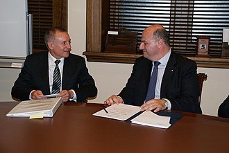 Jay Weatherill - Weatherill meets Deputy Foreign Minister of Greece Konstantinos Tsiaras in a 2013 Australian visit.