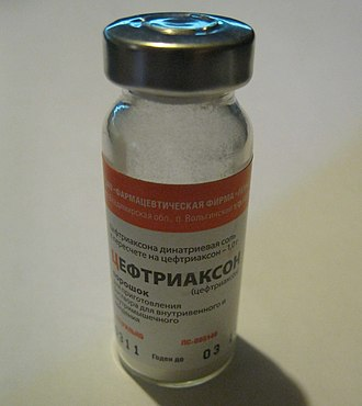 Ceftriaxone - A vial of ceftriaxone, manufactured and sold in Russia