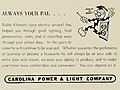 """ALWAYS YOUR PAL... Reddy Kilowatt"" ""CAROLINA POWER & LIGHT COMPANY"" 1949 ad - Oak leaves (electronic resource) (IA oakleaves1949bapt) (page 182 crop).jpg"