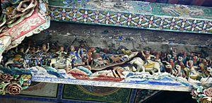 Zhuge Liang's Southern Campaign - Wooden diorama in Huaxilou, Bozhou, Anhui depicting Zhuge Liang's campaign against the Nanman