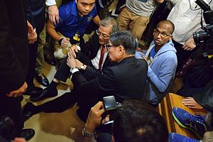 University of Hong Kong pro-vice-chancellor selection controversy - Lo Chung-mau on the ground, clutching his knee
