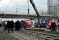 065L20311279 Strassenbahn, Unfall bei der Abfahrt von der Ersatzbrücke, Haltestelle Kaisermühlen, Strassenbahn Linie 26,.jpg