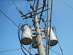 34,500 volt dead-end pole with three 20 kV-240Y/139V transformers, Philippines